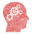 brain gears fabric textured icon vector image