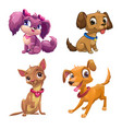 funny cartoon little puppies set vector image