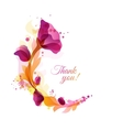 Greeting card with floral frame and splatters vector image