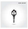 Home icon and key symbol in flat design style vector image