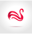 Pink swan on gray background vector image