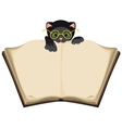 Cat reading open Book vector image