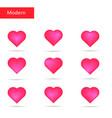 pink hearts set bright hearts vector image