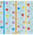 seamless striped pattern with flowers vector image vector image