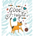 Good night concept card with a cat vector image