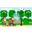 Couple on a Park bench date Flat vector image