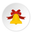 bell with red bow icon circle vector image