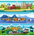 European Touristic Banners Set vector image