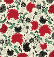 floral seamless pattern with red and black element vector image
