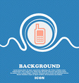Mobile phone sign icon Blue and white abstract vector image