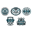 Nautical retro blue emblems with maritime symbols vector image