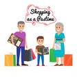 shopping as pastime for your family cartoon vector image