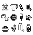 Soy beans soya tofu icons set vector image
