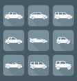 white flat style various body types of cars icons vector image