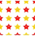Yellow Red Smiling Star Seamless Pattern vector image