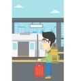 Man at the train station vector image