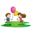 kids with balloons vector image vector image