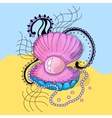 Marine cockleshell with a pearl vector image