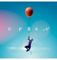 Silhouette of the man flying by a balloon vector image