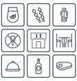 set of 9 restaurant icons includes restaurant vector image