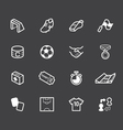 soccer element white icon set on black background vector image