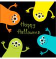 Cute monster roundelay set Happy Halloween card vector image