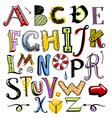 doodle color alphabet vector image