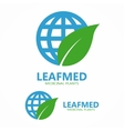 Logo combination of a leaf and globe vector image
