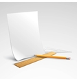 Pencil ruler and a piece of paper vector image