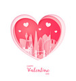 valentines card paper cut heart and sydney vector image
