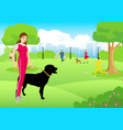 woman with her dog at city park vector image