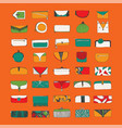 set with bright purses and clutches on vector image