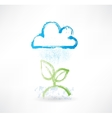 Brush icon with image of rainy cloud and green vector image