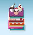 food cook books idea cupcake concept design vector image vector image