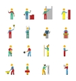 Builders Flat Icon Set vector image