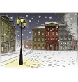 Antique European street Winter Night city landscap vector image vector image