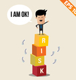 Cartoon Businessman stand on risk block - - vector image