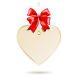 Heart shape frame with red bow hanging on white vector image