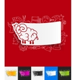 sheep paper sticker with hand drawn elements vector image