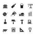 Silhouette Construction and Building icons vector image