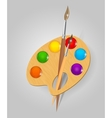 Wooden art palette with paints and brushe vector image
