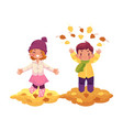 girl boy and autumn leaves isolated vector image