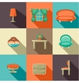 Flat icons with household objects vector image