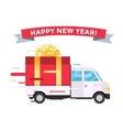 Delivery transport truck van Christmas gift vector image