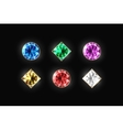 Dazzling diamond different color and shape on a vector image