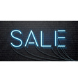 neon sale isolated on black brick wall vector image