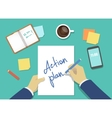 action plan list concept hands vector image