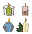 candles color set hand draw sketch vector image