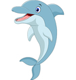 Cartoon funny dolphin jumping vector image