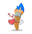 in love paint brush character cartoon vector image